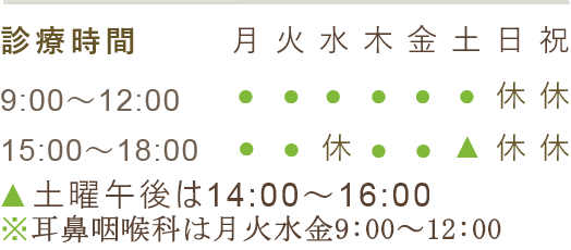 診療時間 9:00~12:00 15:00~18:00 土曜午後は14:00~16:00